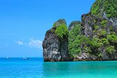 Crystal Clear Water Hong Bay, Kra Bi Andaman Sea Of Thailand Against Beautiful Clear Blue Sky. poster