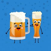 Happy Beer Mugs Animation Characters In Cartoon Style. Glass Pint Tankards Of Frothy Beer Illustrati poster
