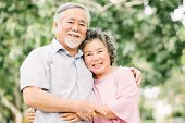 Happy Asian Senior Couple Having A Good Time And Smiling While Holding Each Other Outdoor In The Par poster