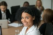 African American Attractive Businesswoman At Meeting, Smiling Black Employee, Team Leader Or Profess poster