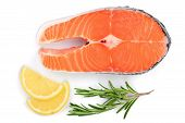 Slice Of Red Fish Salmon With Lemon And Rosemary Isolated On White Background. Top View. Flat Lay . poster