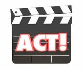 Act Movie Film Clapper Board Directing Scene Performance 3d Illustration poster