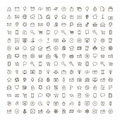 Website Icon Set. Collection Of High Quality Outline Site Pictograms In Modern Flat Style. Black Int poster