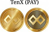 Set Of Physical Golden Coin Tenx (pay), Digital Cryptocurrency. Tenx (pay) Icon Set. Vector Illustra poster