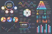 Infographic Elements On Dark Background - Bar And Line Charts, Pie Charts, Steps, Options, Timeline, poster