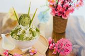 Closeup Green Tea Bingsu On Tray, Bingsu Or Bingsoo, Korean Shaved Ice Dessert With Sweet Toppings A poster
