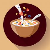 Vector Breakfast Cereal In Bowl Filled With Milk And Berries, Flat Cereal Bowl Icon. Breakfast Icon. poster