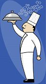 picture of serving tray  - Chef serving covered tray of steaming hot food - JPG
