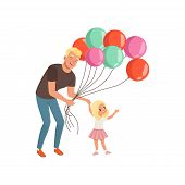 Smiling Father And His Little Daughter With Bunch Of Balloons, Loving Daddy And Kid Spending Time To poster