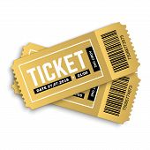 Two, Pair Vector Golden Tickets Isolated On White Background. Cinema, Theatre,  Concert, Play, Party poster