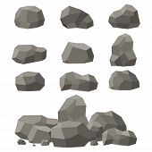 Rocks And Stones Set, Single Or Piled On White Background. Stones And Rocks In Isometric 3d Flat Sty poster