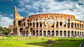 Colosseum Or Coliseum In Rome In The Sunlight, Italy. Rome Landmark. It Is The Main Tourist Attracti poster