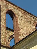 Detail Of The Ruins Of A Gothic Monastery, Stone Masonry With A Typical Gothic Arch, Architectural E poster