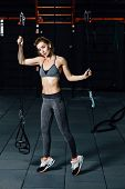 Crossfit Woman Standing With Her Front In The Gym. Fitness Woman, Trained Body, Fitness Model. Bodyb poster