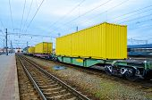 Transportation Of Cargoes By Rail In Containers. Railway Infrastructure Background poster