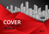 Red Cover Template For Business Industry, Real Estate, Building, Home, Machinery. Horizontal Layout, poster
