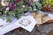 Wedding Invitations In The Craft Envelopes With A Bunches Of Lavender. Wedding Concept. Wedding Acce poster