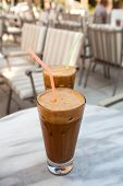 stock photo of frappe  - Frappes on a cafe table in Kefalonia Greece - JPG
