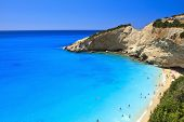 stock photo of greek-island  - The blue waters in Porto Katsiki beach in Lefkada - JPG