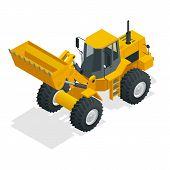 Isometric Vector Illustration Yellow Bulldozer Tractor, Construction Machine, Bulldozer Isolated On  poster