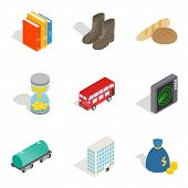 Material Icons Set. Isometric Set Of 9 Material Vector Icons For Web Isolated On White Background poster