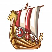 Ancient Ship Icon. Cartoon Illustration Of Ancient Ship Vector Icon For Web poster