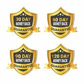 Set Of Golden Shield Stickers Money Back Guarantee Label With Ribbon Isolated Vector Illustration poster
