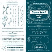Vintage Hand Drawn Divider Lines Set Isolated Illustration. Retro Collection Of Page Divider, Border poster
