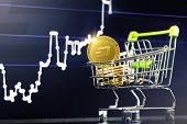 Dash Cryptocurrency; Shopping Cart (trolley) With Gold Physical Dash Coins On The Background Of The  poster