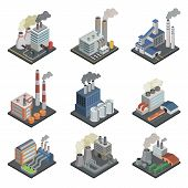 Industrial Building Factory, Chemical Plant And Power Stations With Pipes Isometric 3d Elements. Hea poster