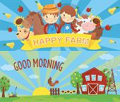 Cartoon Farm Banners. Rural Landscape With Wooden Barn, Green Grass, Wind Pump, Rooster On Fence And poster