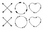 Circle And Heart Arrow Frames For Monograms. Criss Cross Hipster Arrows. Arrows In Boho Style. Triba poster