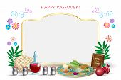 Happy Passover Jewish Holiday Greeting Card With Copy Space For Text, Decorative Vintage Floral Fram poster