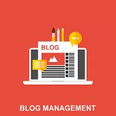 Flat Vector Illustration Of A Blog Management. Business Design Concept poster