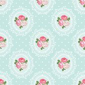 Shabby Chic Rose Seamless Pattern On Polka Dot Background. Vector Illustartion. poster