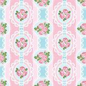 Shabby Chic Rose Seamless Pattern On Pink Background. Vector Illustartion. poster
