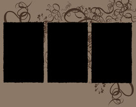 foto of storyboard  - Abstract Floral storyboard with three frames  - JPG