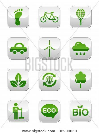 Green / eco buttons set