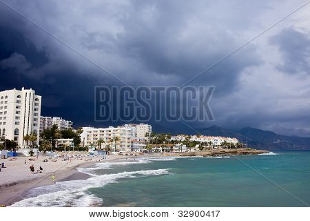 Nerja Beach On Costa Del Sol In Spain