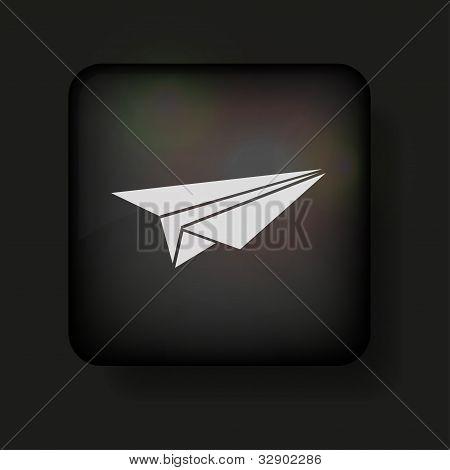 Vektor Origami Flugzeug Symbol auf schwarz. eps10