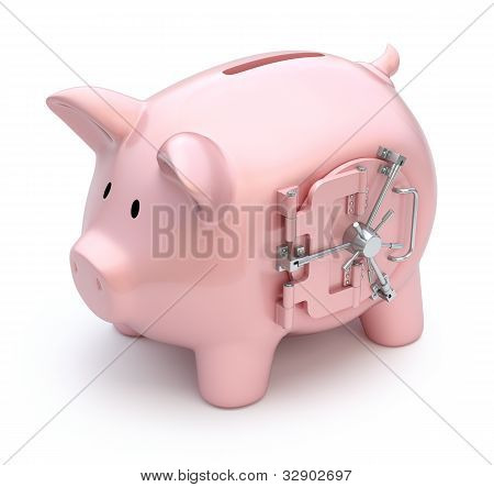 Piggy bank with vault door