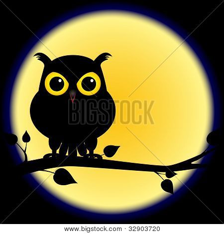 Silhouette Of Owl On Branch With Full Moon