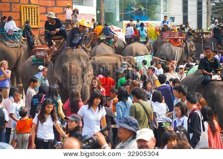Crowded Sea Of Elephants And People H