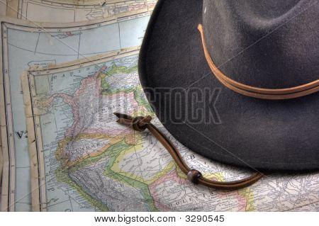 Chapéu de feltro sobre Vintage, avisar para fora do mapa da América do Sul (edição de 1926)