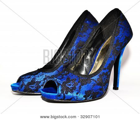 blue high heeled shoes isolated on white