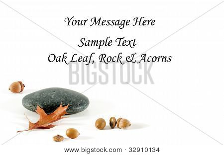 Oak Leaf, Rock And Acorn Card