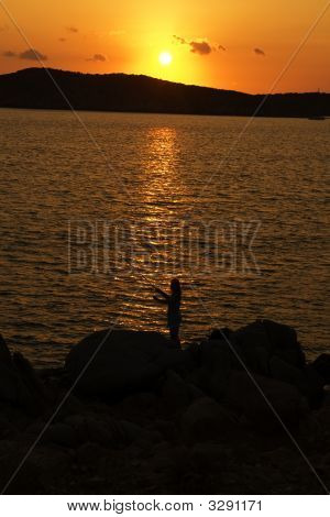 Fishing On Soft Sunset On Sardinia
