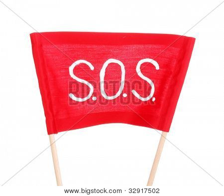 SOS signal written on red cloth isolated on white