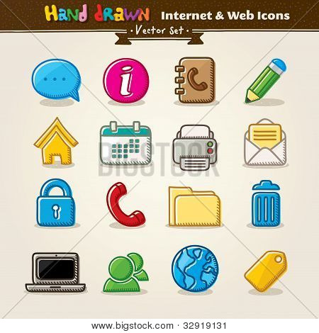 Vetorial mão Draw Internet e Web Icon Set