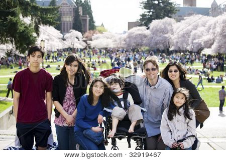 Family Of Seven In Front Of Cherry Blossom Trees